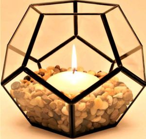 Black Metal and Glass Geometric Terrarium Candle Holder Centerpiece Home Decor Planter for Sale in Concord, CA