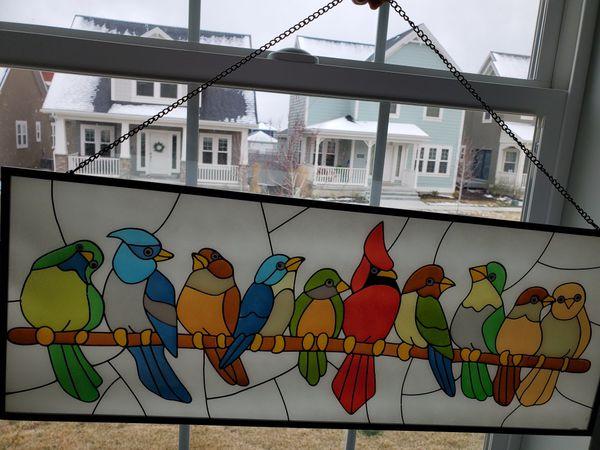 Bird wall art w/ stained glass effect, brand new