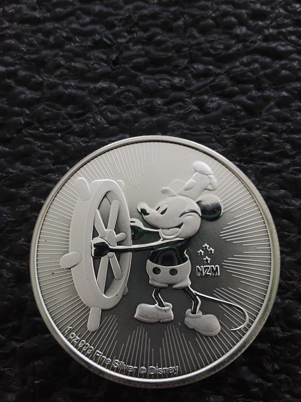 2017 Disney MICKEY MOUSE Steamboat Willie 1oz. SILVER $2 Coin