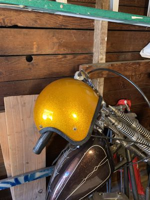 Vintage 60's ✨GOLD FLAKE✨ open face motorcycle helmet XL for Sale in Los Angeles, CA