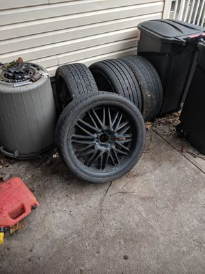 """Rims for sell. Two 19"""" BMW and four 20"""" universal five lugs. All hold air and have good tires. for Sale in Freehold, NJ"""