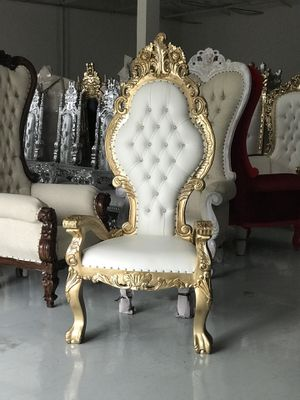 Free nationwide delivery | Gold white throne chairs king queen princess royal baroque wedding event party photography hotel lounge boutique furniture for Sale for sale  Atlanta, GA
