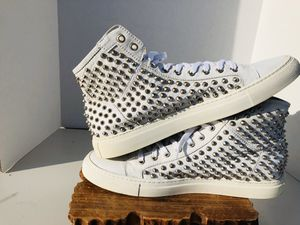 Giacomorelli Italian Designer Spiked White Leather Hightops US Size 10 for Sale in Garland, TX