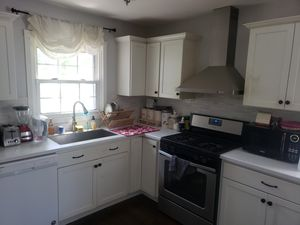 Kitchen cabinets(take the pcs u like or the whole set) large stainless steel sink, and countertops. for Sale in Roselle, IL