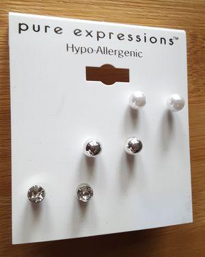 New hypo-allergenic set of 3 mini stud earrings for Sale in Fullerton, CA