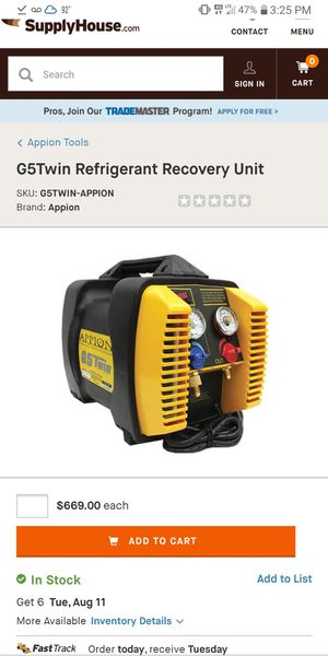 Appion G5 Twin refrigerant recovery for Sale in Walker, LA