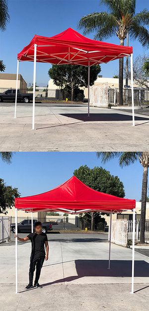 (NEW) $90 Red 10x10 Ft Outdoor Ez Pop Up Wedding Party Tent Patio Canopy Sunshade Shelter w/Bag for Sale in Whittier, CA