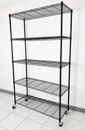 "New $90 Metal 5-Shelf Shelving Storage Unit Wire Organizer Rack Adjustable w/ Wheel Casters 48x18x82"" for Sale in South El Monte, CA"