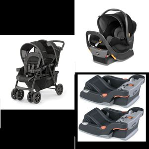 Full twin setup - Chicco double stroller + 4 carseat bases + 2 chicco keyfit carseats for Sale in Gilbert, AZ