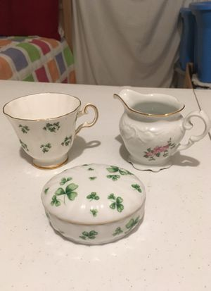 Antique Tea Cup, Creamer, & Jewelry Box Shamrocks Flowers 1772, 1950, 2001 Royal Grafton Fine Bone China for Sale in Bellflower, CA