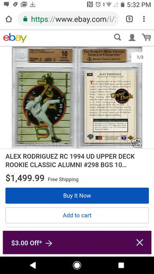Alex Rodriguez Rookie card in mint condition and hard plastic for Sale in Lodi, CA