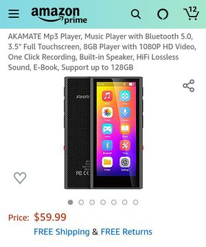 """Mp3 Player, Music Player with Bluetooth 5.0, 3.5"""" Full Touchscreen, 8GB Player with 1080P HD Video, One Click Recording for Sale in Rialto, CA"""