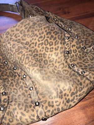 Stuart Weizmann leopard printed suede hobo bag with studs for Sale in Spring Hill, FL