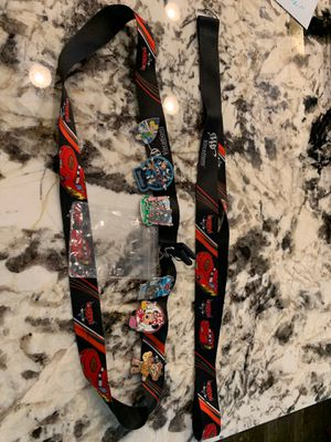 Disneyland pins with CARS Lanyard to carry ID , park hopper tickets, money ect. with EXTRA lanyard All for $48 for Sale in BETHEL, WA