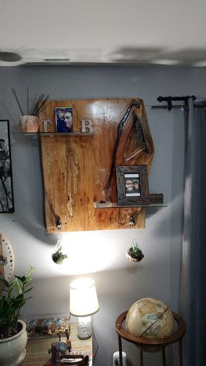 CUSTOM MADE RUSTIC WOOD WALL DECOR WITH 2 GLASS SHELVES for Sale in Avondale, AZ