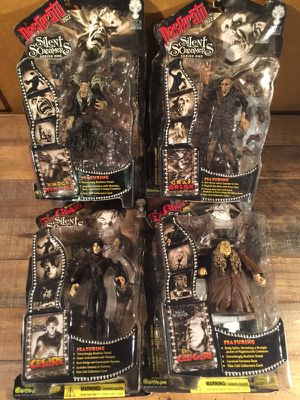 Complete set of 4 rare horror silent movie monsters collectible toys for Sale in Miami, FL