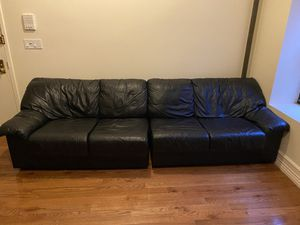 Perfect condition 2 piece black leather couch for Sale in New York, NY