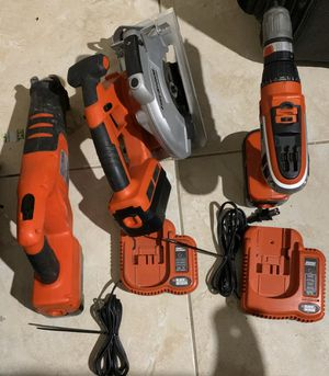 Black and Decker Storm Drill and Turns to Impact Drill, Circular Saw , Saw, all have Batteries and and 2 Fast chargers No Trades/ Pick Up Only for Sale in Sunrise, FL