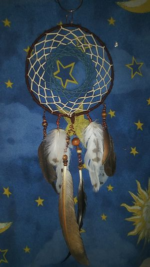 Brown blue and white dream catcher with wood beads for Sale in Conyers, GA