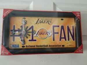 New Lakers clock and lamps 65 both for Sale in Ontario, CA