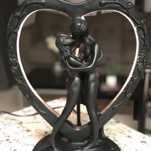 Vintage Black Art-Deco Nouveau Nude Woman Man Lovers Heart Table Light Lamp for Sale in Rockville, MD