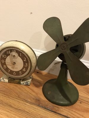 Antique metal fan and clock for Sale in New Paltz, NY