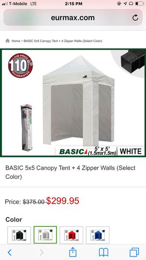 Euromax Basic 5x5 canopy with removable walls. White. for Sale in Delray Beach, FL