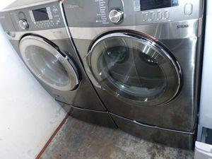 🏭Sansung washer steam dryer gas steam nice set🏭 for Sale in Houston, TX