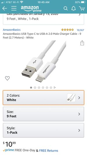 AmazonBasics USB Type-C to USB-A 2.0 Male Charger Cable for Sale in Burbank, CA