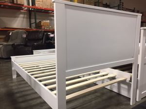 FULL SIZE Wood Platform Bed with Headboard / No Box Spring Needed / Wood Slat Support, White| 7582F-WH for Sale in Fountain Valley, CA
