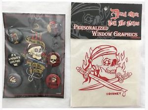 disney disneyland PIRATES of the CARIBBEAN 6 pin button set + decal sticker lot for Sale in Tustin, CA