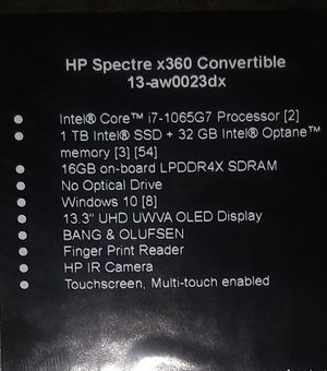 HP-spectre x360 convertible 13-aw0023dx for Sale in Salt Lake City, UT