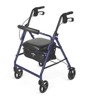 MEDLINE DURABLE ALUMINUM FOLD UP MOBILITY ROLLATOR WALKER WITH 6 INCH WHEELS AND SEAT FOR ADULTS, BLUE for Sale in Las Vegas, NV