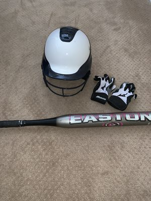 Softball helmet, gloves, and bat for Sale in San Diego, CA
