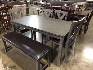 6 PC Dining Set, Grey, F2548 for Sale in Santa Fe Springs, CA