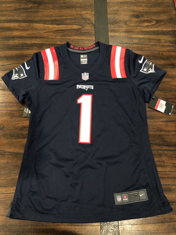 NFL Nike game day New England Patriots #1 Cam Newton navy blue women's jerseys size small medium and large