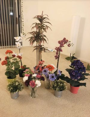 Artificial plants and flowers with pots and vases for Sale in San Diego, CA