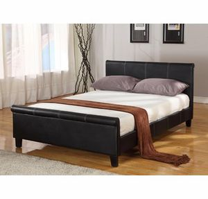 Twin espresso bed with roll top comes with mattress(new) for Sale in San Francisco, CA
