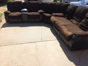 Brown Microfiber and leather sectional with Recliners for Sale in Glendale, AZ