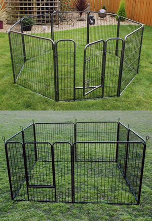 New in box 32 inch tall x 32 inches wide each panel x 8 panels heavy duty exercise playpen fence safety gate dog cage crate kennel expandable fence g for Sale in Los Angeles, CA