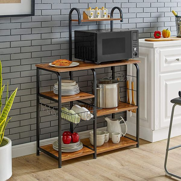 Kitchen Baker's Rack Utility Storage Organizer Workstation with 10 Hooks
