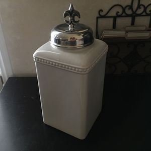 "COOKIE JAR with LID* 15""x6.5""x6.5"" Canister/Storage Container Ceramic Off-White+Silver Tuscan/Baroque for Sale in Las Vegas, NV"