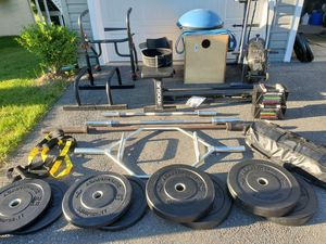 Home Gym Package Olympic Bumper Plates, Bars, Bench for Sale in Fort Meade, MD