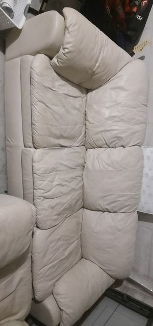 Worn white leather couch for Sale in Oviedo, FL