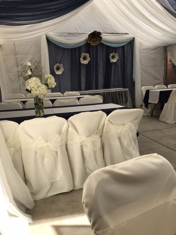 Drapes tent chairs centerpiece