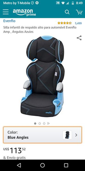 evenflo amp high back car seat booster blue angles for Sale in Wethersfield, CT