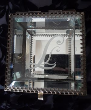 Heavy glass jewelry box with letter L metal heart trim perfect Christmas gift box for Sale in Avondale, AZ