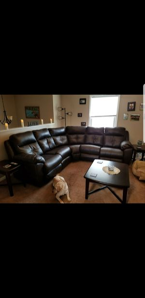 Leather sectional with dual recliner for Sale in Etterville, MO