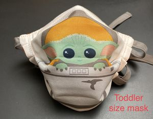 Handmade Star Wars Mandalorian Baby Yoda Toddler face mask fits 2 to 3 years old with Adjustable ear straps and nose wire for Sale in Fontana, CA