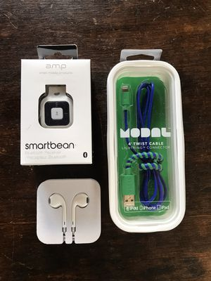 Apple Headphones + Bluetooth Receiver + Lightning Cable for Sale in Danville, CA